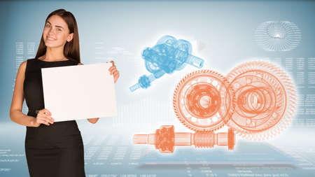 Businesswoman hold paper sheet. Wire-frame reduction gears on transparent plane. Graphs as backdrop photo