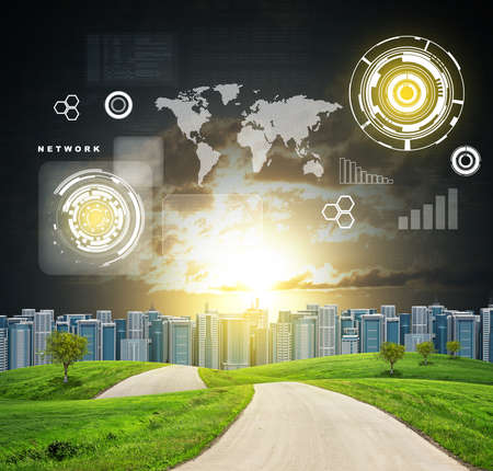 dramatic: Buildings, green hills, road and dramatic sky with virtual elements. Business concept