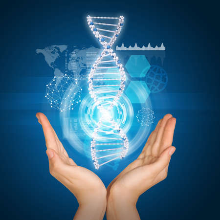 Hands holding model of DNA. Scientific and medical concept photo