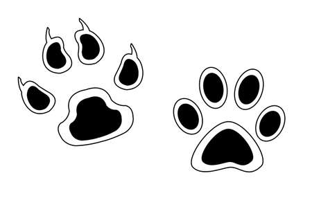 clutches: Sketch footprints of animals with claws and without. Isolated on white background