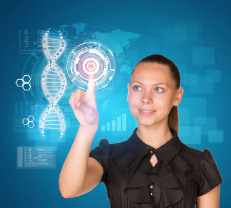 dna smile: Beautiful businesswoman in dress smiling and presses finger on model of DNA. Scientific and medical concept