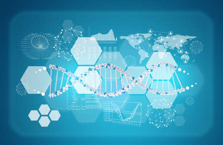 Model of DNA with hexagons, graphs and world map. Scientific and medical background photo