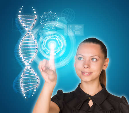 Beautiful young girl looks at model of DNA and presses her finger. Virtual elements as backdrop photo