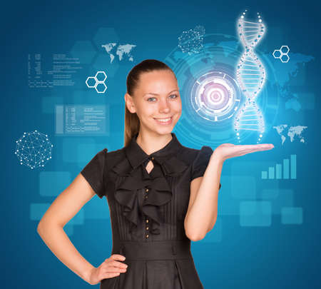 Beautiful businesswoman in dress smiling and holding model of DNA. Scientific and medical concept photo