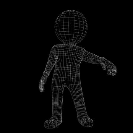 one hand: Wire-frame man, with one hand outstretched. Isolated on black