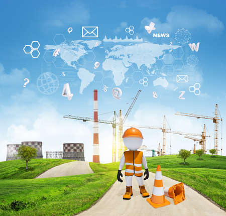 Three-dimensional worker dressed as road worker standing on road running through green hills. Cooling towers and cranes as backdrop. Charts and other virtual items in sky. Business concept photo