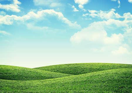 Green hills under bright sky. Nature concept