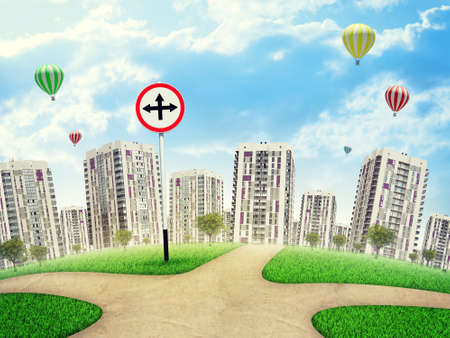Roadsign with crossed arrows pointing up, left and right, against high-rise buildings, a few air balloons above. Curved Earth photo