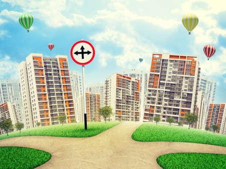 flechas curvas: Roadsign con las flechas cruzadas apuntando hacia arriba, izquierda y derecha, en contra de edificios de gran altura, unos globos de aire anteriores. Curved Tierra