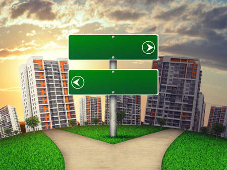 Blank route pointer by footpath crossroad against high-rise buildings. Two green arrowed boards show opposite directions, one points to sunny and the other to shady area. Curved Earth photo