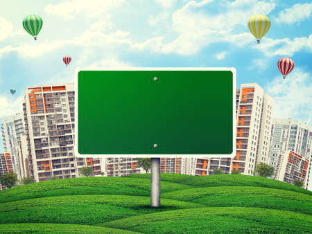 multi storey: Blank billboard amidst green hills, against high-rise buildings, a few air baloons above, Curved Earth