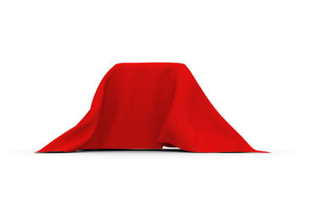 concealed: Object of rectangular shape covered with thick red cloth. Side view. Isolated on white background