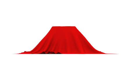 cuboid: Object of rectangular shape covered with thick red cloth. Side view. Isolated on white background