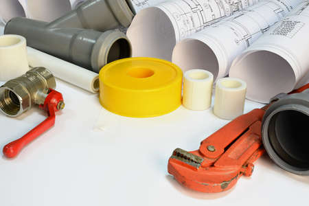 gas ball: Drawing rolls, gas wrench, pipe joints, Y fitting, ball valve, drain pipe, plumbers tape