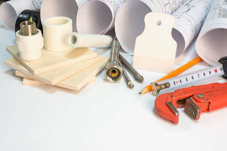 braided flexible: Drawing rolls, builders level, tceramic tiles, tile drill bits, filling knife, pencil, tape measure, gas trench, pipe joints, flexible tap hose