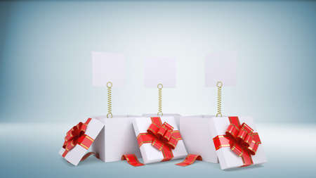 popped: Three blank paper sheets popped out of three gift boxes, light blue background
