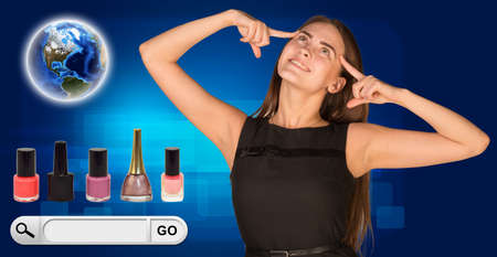 nail bar: Beautiful woman facing choice. bottles of nail polish, Globe and search bar with Go button beside. On blue background.  Stock Photo