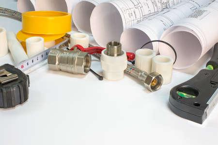 braided flexible: Drawing rolls, pipe joints, plumbers tape, flexible tap hose, ties, ball walve, builders level, tape measure