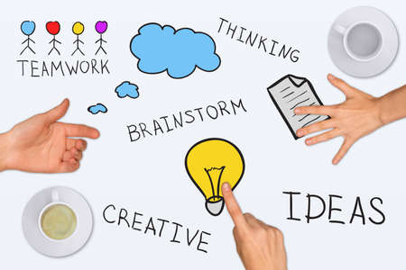 Drawing and photo collage expressing concept of creative ideas, on white background photo