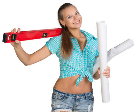 belly button girl: Pretty woman in shorts and shirt smiling and holding paper scrolls and red building level. Isolated over white background