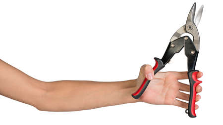 snips: Female hand, bare, holding tin snips, isolated over white background Stock Photo
