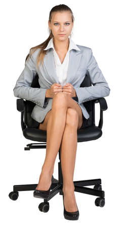 business woman legs: Businesswoman on office chair, looking at camera, pulling her jacket tightly round her waist. Isolated over white background