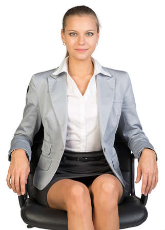 armrest: Businesswoman on office chair, looking at camera, her arms on armrests. Isolated over white background