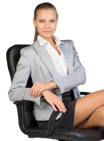 armrest: Businesswoman on office chair, looking at camera, her arms on armrest. Isolated over white background