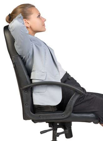 lean back: Businesswoman back in office chair with her hands clasped behind her head. Isolated over white background