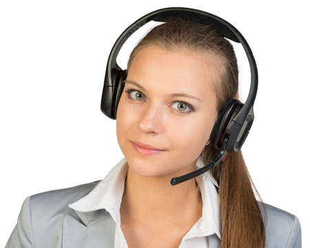 half turn: Businesswoman in headset, her head tilted slightly to the side, looking at camera. Isolated over white background