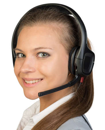 half turn: Businesswoman in headset, her head half-turned to camera, looking at camera, smiling. Isolated over white background