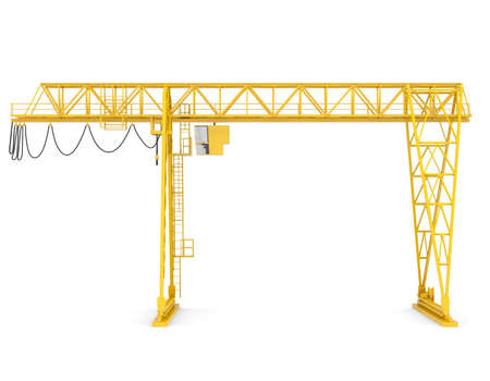 front view: Yellow gantry bridge crane, front view, isolated on white background