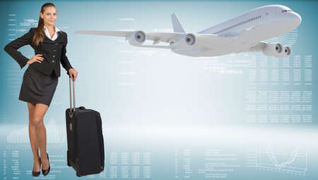 hitech: Businesswoman holding wheeled travel bag. Image of flying airliner beside. Hi-tech graphs with various data as backdrop