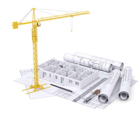 apartment block: Apartment block under construction, crane, blueprints, drawing instruments. On white background Stock Photo