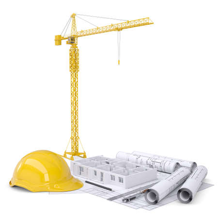 hard hat: Apartment block under construction, crane, blueprints, drawing instruments, hard hat. On white background Stock Photo