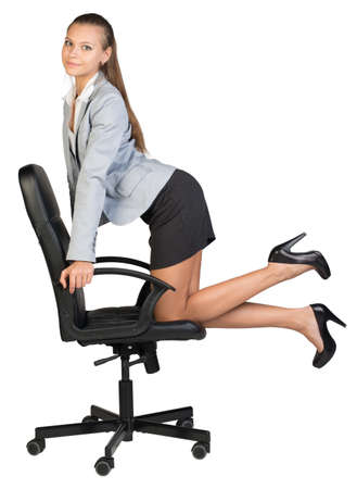 elbow chair: Businesswoman kneeling on office chair, her arms on chair armrests, looking at camera cheerfully. Isolated over white background