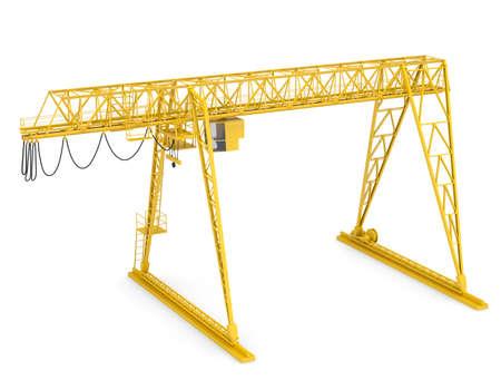 gantry: Yellow gantry bridge crane, half-turn, isolated on white background