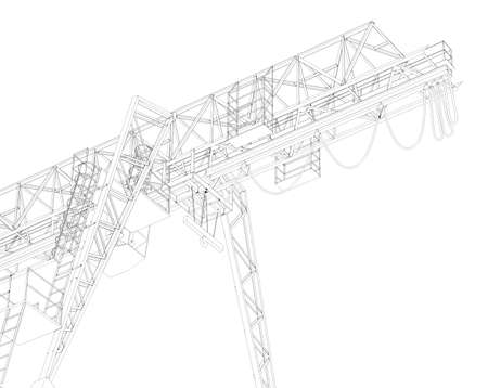 half turn: Gantry bridge crane, part, low angle view, isolated on white background
