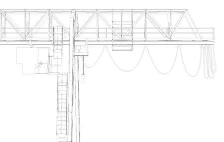 rope bridge: Gantry bridge crane, top, part, isolated on white background Stock Photo