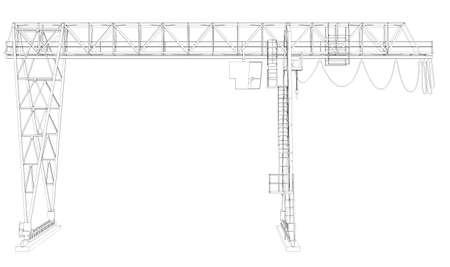 rope ladder: Gantry bridge crane, isolated on white background