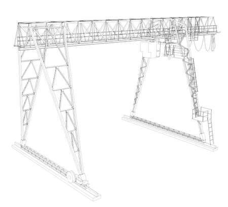 gantry: Gantry bridge crane, high angle view, isolated on white background Stock Photo