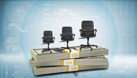 successively: Stack of money with three office chairs on top, successively increasing in size. Hi-tech graphs with various data as backdrop Stock Photo