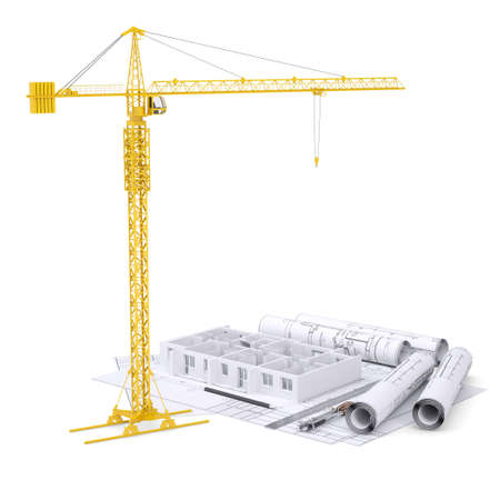 apartment block: Apartment block under construction, crane, blueprints, drawing instruments. On white background Stock Photo