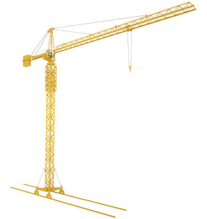counterweight: Yellow tower crane, isolated on white background Stock Photo