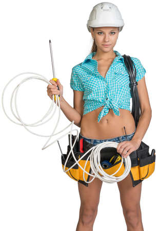 cat5: Woman wearing hard hat and tool belt, with coil of power cable on her shoulder, holding coil of cat 5 and screwdriver, looking at camera. Isolated on white background