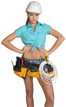 cat5: Woman wearing hard hat and tool belt, with coil of cable at her waist, her hands on hip, looking at camera. Isolated on white background