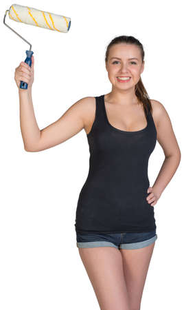 akimbo: Woman standing akimbo, holding paint roller, looking at camera, smiling. Isolated on white background