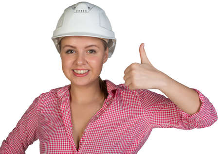 thumbup: Woman in hard hat showing thumb-up, looking at camera, smiling. Isolated on white background Stock Photo