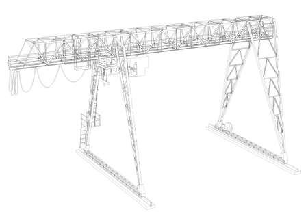 angle: Gantry bridge crane, high angle view, isolated on white background Stock Photo