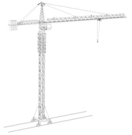 counterweight: Wire-frame tower crane, isolated on white background